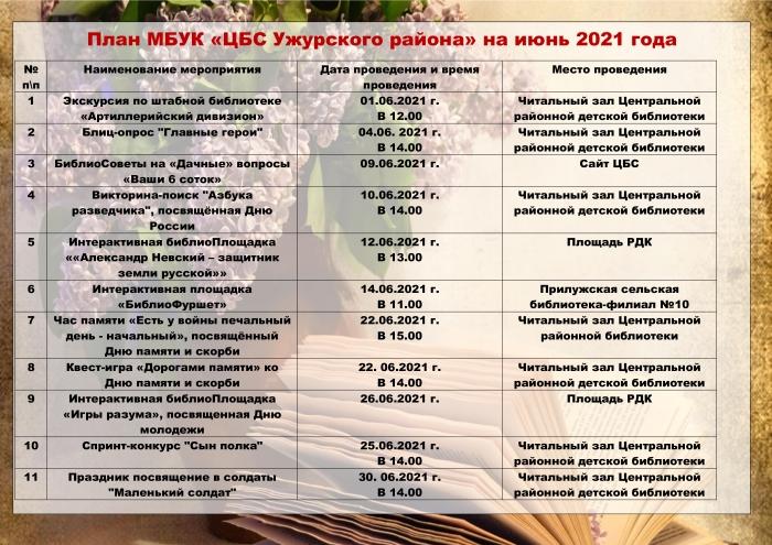 План МБУК «ЦБС Ужурского района» на июнь 2021 года